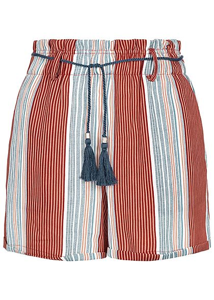 ONLY Damen Striped High-Waist Shorts Belt 2-Pockets calypso coral rot