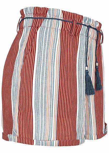 ONLY Damen Striped High-Waist Shorts Belt 2-Pockets calypso coral rot