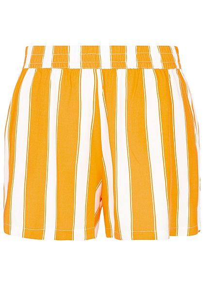 ONLY Damen Striped Summer Shorts 2-Pockets cloud dancer weiss gelb