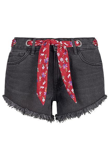 ONLY Damen Denim Fray Shorts 5-Pockets Belt schwarz rot