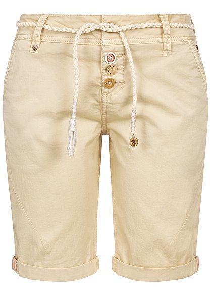 Eight2Nine Damen Bermuda Shorts 4-Pockets Plaited Belt Buttons beige