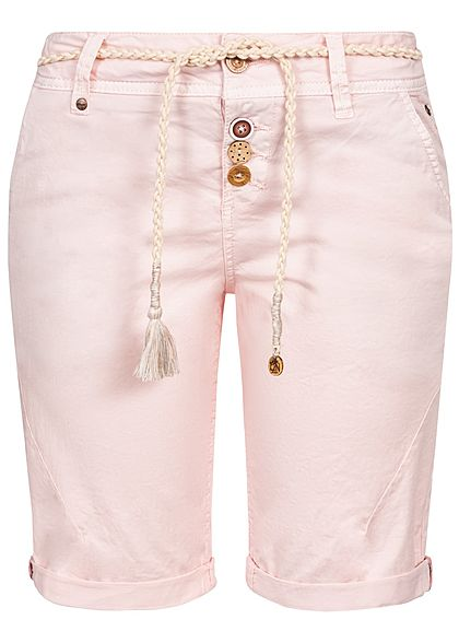 Eight2Nine Damen Bermuda Shorts 4-Pockets Plaited Belt Buttons rosa