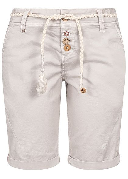 Eight2Nine Damen Bermuda Shorts 4-Pockets Plaited Belt Buttons hell grau