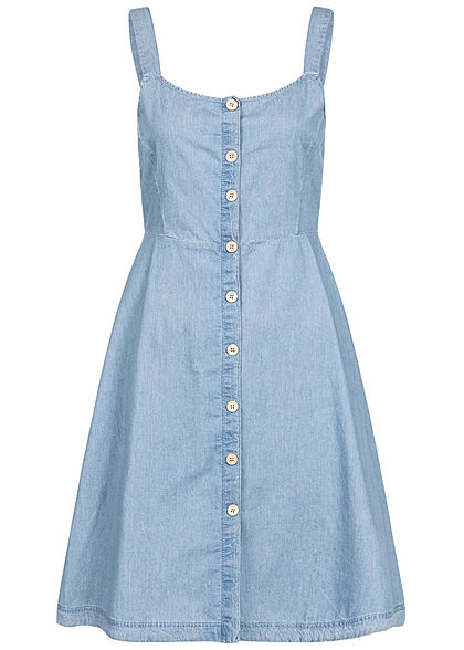 JDY by ONLY Damen Denim Mini Dress Buttons Front hell blau