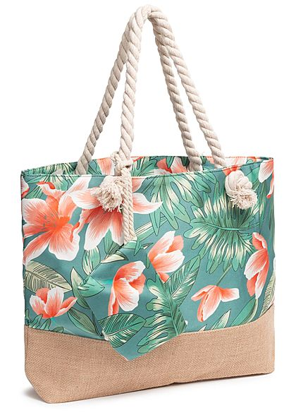 Zabaione Damen Beach Shopper Bag incl. Purse Tropical Print grau multicolor