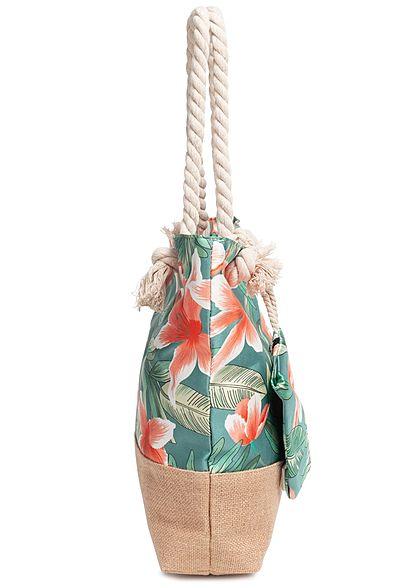 Zabaione Damen Beach Shopper Bag incl. Purse Tropical Print grau multicolor