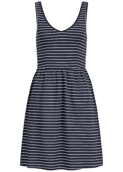 ONLY Damen Striped V-Neck Mini Dress night sky navy blau weiss