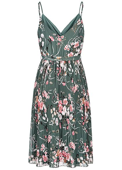 ONLY Damen Plisse Strap Dress Flower Print balsam grün