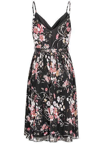 ONLY Damen Plisse Strap Dress Flower Print schwarz rosa