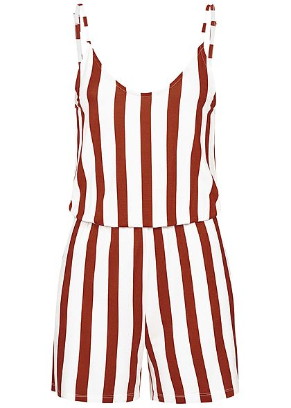 ONLY Damen Striped Jumpsuit ketchup rot weiss