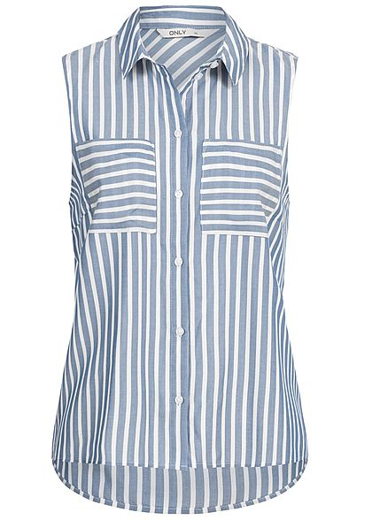 ONLY Damen Striped Shirt 2 Breast Pockets infinity blau weiss