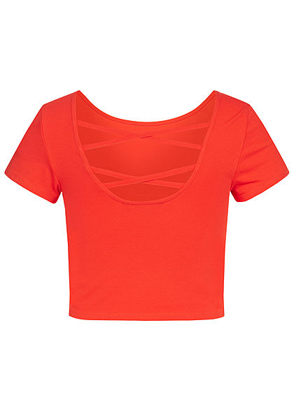ONLY Damen Cropped Top Criss Cross Backside rot