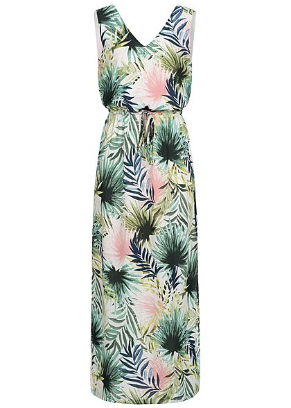 ONLY Damen Maxi  Dress Tropical Print cloud dancer weiss grün