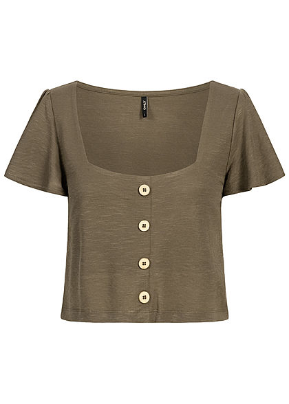 ONLY Damen Cropped Mini Top Buttons crocodile braun