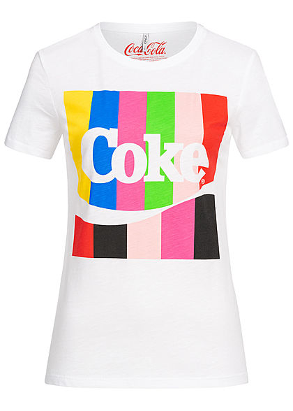ONLY Damen T-Shirt Coke Print bright weiss multicolor
