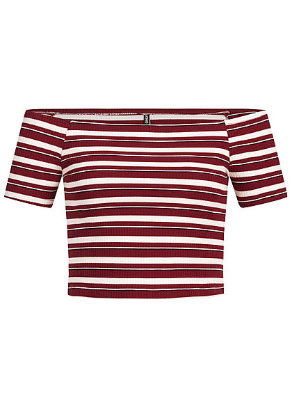 ONLY Damen Cropped Striped Off-Shoulder Top pomegranate rot beige