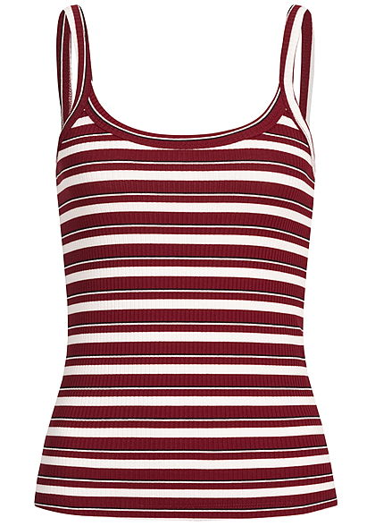 ONLY Damen Ripped Striped Tank Top pomegranate rot beige