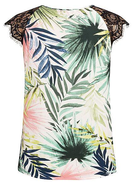 ONLY Damen Lace Blouse Top Tropical Leaf Print cloud dancer weiss grün