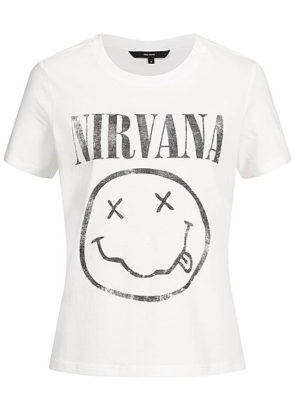 Vero Moda Damen T-Shirt Nirvana Print snow weiss