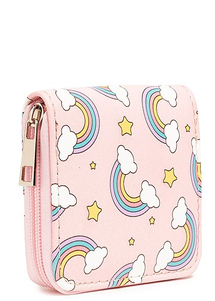 Hailys Damen Small Zip Purse Rainbow Print rosa