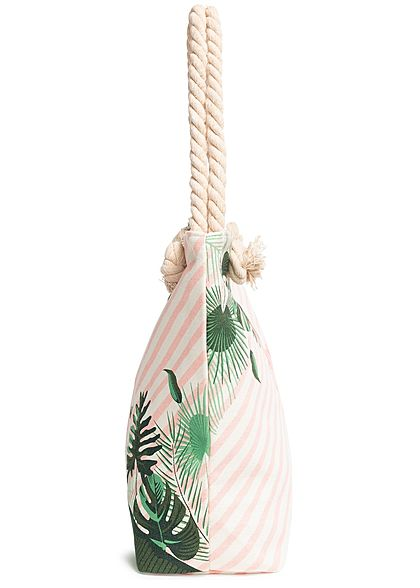 Hailys Damen Strand Shopper Handtasche Summer Vibes Streifen Print rosa grün