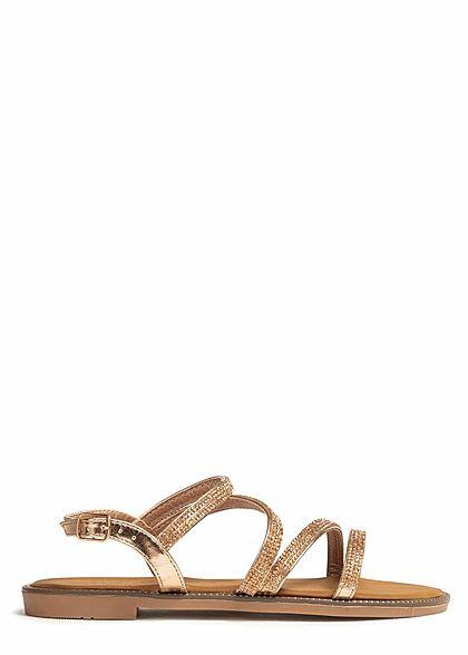 Hailys Damen Schuh Sandale mit Strasssteinen rose gold