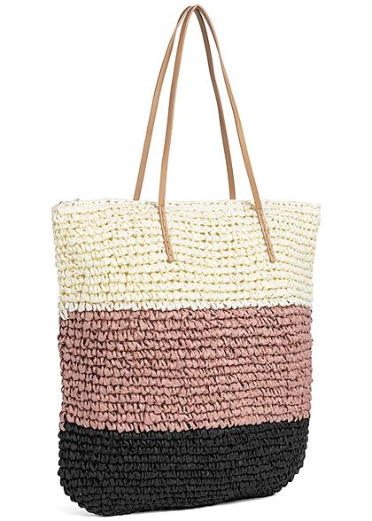 Zabaione Damen Striped Basket Shopper Bag rosa schwarz weiss