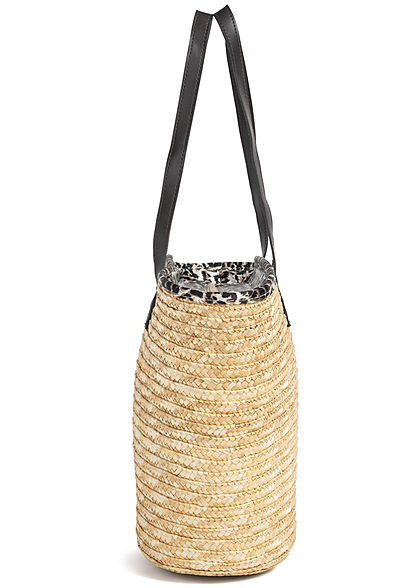 Zabaione Damen Straw Shopper Bag Leo Print Inside natural