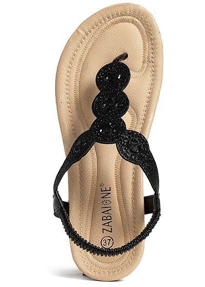 Zabaione Damen Toe Post Glitter Sandals schwarz