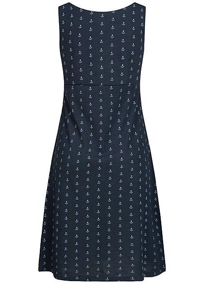 Zabaione Damen V-Neck Sweat Dress Anchor Print Twist Front navy blau weiss