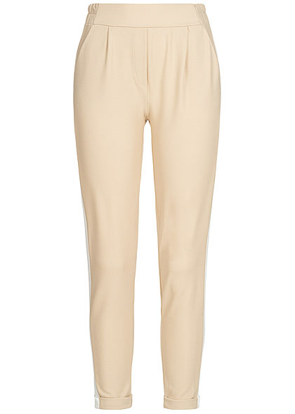 Hailys Damen Trousers 2-Pockets Contrasting Stripes beige weiss