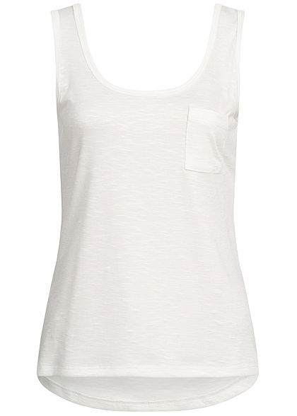 Hailys Damen Tank Top Breast Pocket weiss