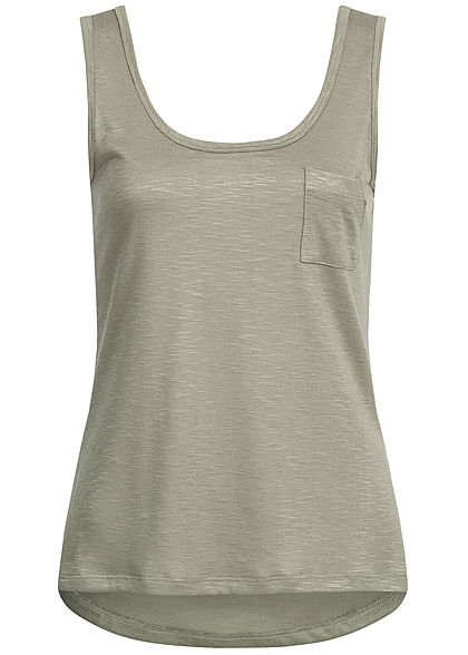 Hailys Damen Tank Top Breast Pocket khaki