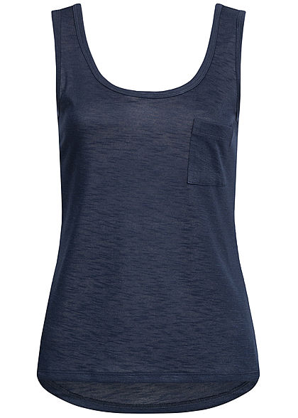 Hailys Damen Tank Top Breast Pocket navy blau