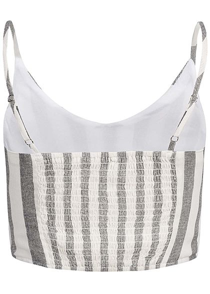 Hailys Damen Adjustable Linen Cropped Strap Top Stripes grau weiss