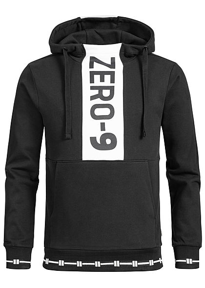 Jack and Jones Herren Sweat Hoodie Zer0-9 Print schwarz weiss