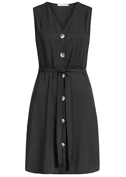 Hailys Damen V-Neck Dress Bow Buttons Front schwarz