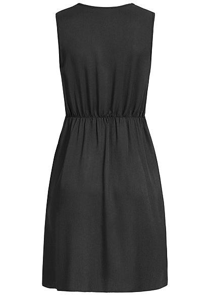 Hailys Damen V-Neck Dress Bow Buttons Front schwarz