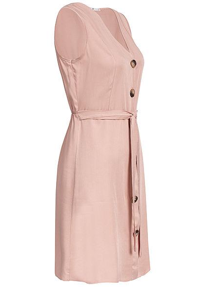 Hailys Damen V-Neck Dress Bow Buttons Front rosa
