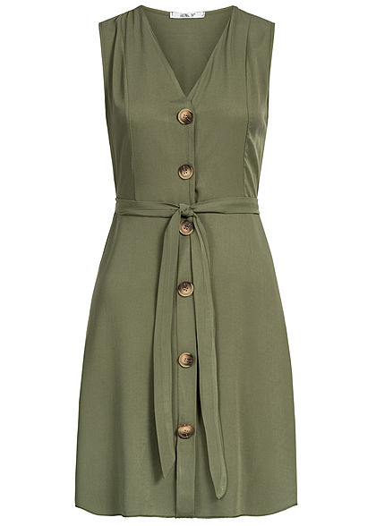 Hailys Damen V-Neck Dress Bow Buttons Front khaki