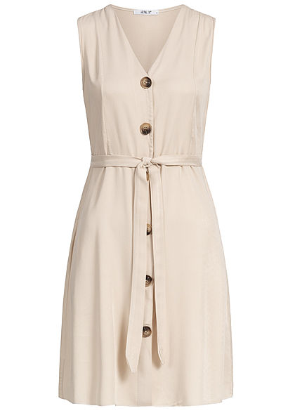 Hailys Damen V-Neck Dress Bow Buttons Front beige