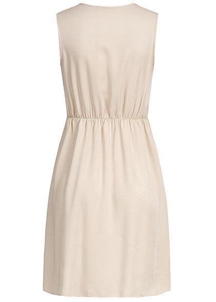 Hailys Damen V-Neck Dress Bow Buttons Front beige