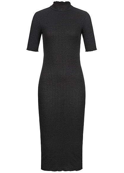 Hailys Damen High-Neck Rib Bodycon Midi Dress schwarz