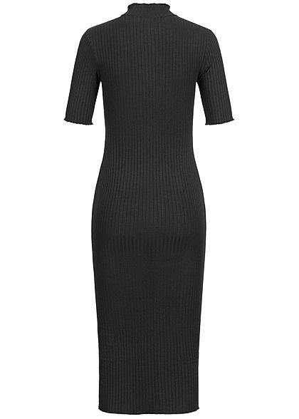 Hailys Damen High-Neck Rib Bodycon Midi Dress schwarz