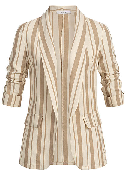 Hailys Damen Striped Blazer Jacket beige braun