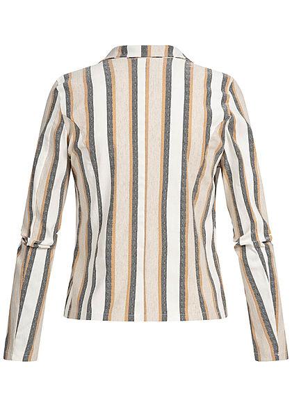 Hailys Damen Tailored Stripes Button Blazer Jacket beige