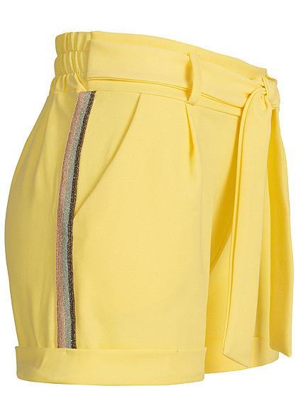 5b6417624f66b7 Hailys Damen Tie Belt Shorts Contrasting Glitter Stripes 2-Pockets gelb -  77onlineshop