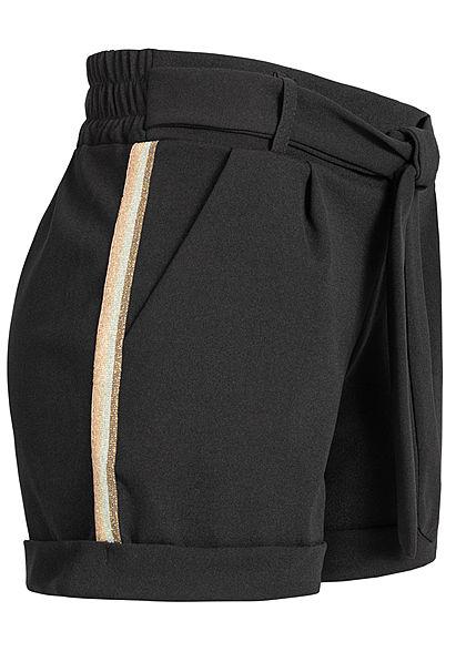 0341e5228a9e90 Hailys Damen Tie Belt Shorts Contrasting Glitter Stripes 2-Pockets schwarz  - 77onlineshop