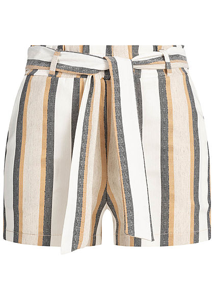 Hailys Damen Striped Belt Paper-Bag Shorts 2-Pockets beige grau weiss