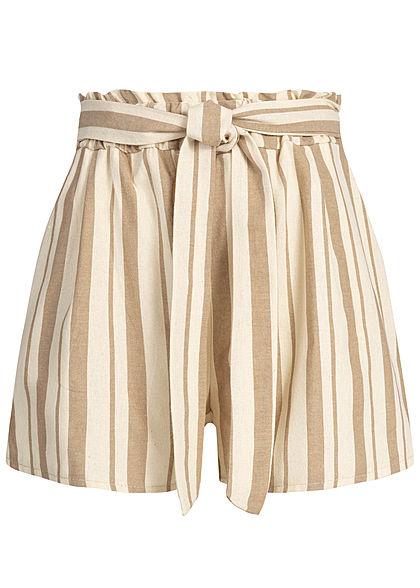 bf4bfdc616e0e4 Hailys Damen Striped Tie Belt Paper-Bag Shorts 2-Pockets braun beige. 19 ...